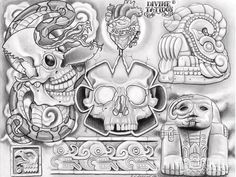 We team up with tattoo artist Enrique Castillo from Dallas, Texas, who has been tattooing for 10 years. Check out his art here at Lowrider Arte Magazine. Chicano Art Tattoos, Chicano Lettering, Tattoo Art, Arte Cholo, Cholo Art, Mayan Tattoos, Mexican Art Tattoos, Tatuagem Azteca, Aztec Tattoo Designs
