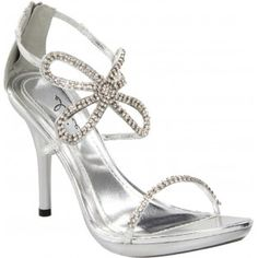 431-MONARCH Women Rhinestones High Heels - Silver
