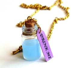 Drink Me Alice in Wonderland Necklace by FatallyFeminine on Etsy, $18.00