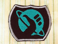 Hitchhikers Guide To The Galaxy - Logo Patch Galaxy Logo, Hitchhikers Guide, Guide To The Galaxy, Cool Patches, Teal Green, Superhero Logos, Black Cotton, Give It To Me, Kids Rugs