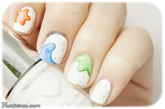 Baby shower nail art - It's a boy! A simple manicure to celebrate the arrival of a new baby ^^