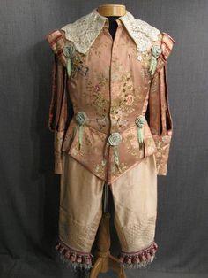 Doublet Breeches Mens Cavalier pink cream brocade