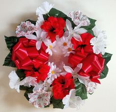 * This wreath is made of a beautiful mixture of silk flowers that are red and white. Grave Flowers, Silk Flowers, White Flowers, Memorial Flowers, Red White Blue, Cemetery, Floral Wreath, Bouquet, Valentines