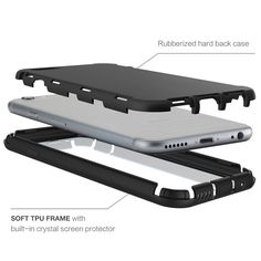 IPHONE 6 PLUS CASE, DURABLE FULL BODY PROTECTION HYBRID COVER WITH BUILT-IN SCREEN PROTECTOR (BLACK) | #cellphonegadgets #mobileaccessories www.kuteckusa.com