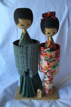 "Authentic Vtg Tall Pair of Japanese 13"" Kokeshi Dolls Wood Base Wedding w Plaque | eBay"
