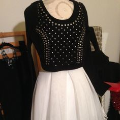 Black Cotton studded long sleeve crop top Awesome Black Cotton Silver studded crop top,, wear with Jeans or a Skirt, Layer over a Dress and create a new look!- worn 2 's!- perfect condition! Tops Crop Tops