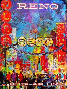 Reno Nevada United States America Vintage Travel Advertisement Art Poster
