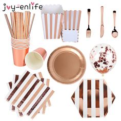 Rose Gold Party Disposable Tableware Set Party Paper Cups Plates Straws Party Table Decoration Wedding Birthday Party Supplies Party Table Decorations, Wedding Decorations, Rose Gold Party Supplies, Disposable Tableware, Paper Cups, Party Tableware, Straws, Pink And Gold, Birthday Parties
