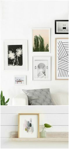 DIY Abstract Art   Love this gallery wall to display your art. Such stylish frames!