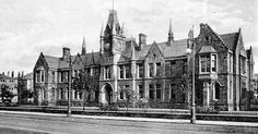 Tour Scotland Photographs: Old photograph of Bellahouston Academy in Glasgow, Scotland. This Scottish school first opened in 1876 as a private school, run by Alexander Sim.