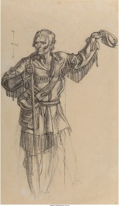Dean Cornwell (American, 1892-1960). Davey Crockett. Charcoal on | Lot #71266 | Heritage Auctions