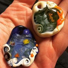 Two reef pendants I made at #glassstock with Michelle Riordan. @behind_the_blue_fence #lampwork