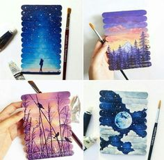 69 Ideas For Disney Canvas Art Projects Watercolor Art Diy, Watercolor Art Paintings, Painting & Drawing, Disney Canvas Art, Disney Art, Popsicle Stick Art, Canvas Art Projects, Disney Kunst, Craft Stick Crafts