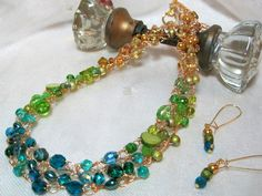 Bead Crochet Necklace Set in Yellow Lime and Teal by HettyMarie