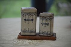 The and Poivre Cannister Set *Free Shipping* by BrocanteTreasuresTX on Etsy https://www.etsy.com/listing/453624710/the-and-poivre-cannister-set-free