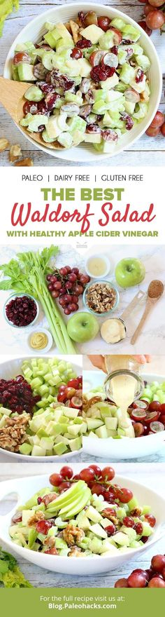 This refreshing Waldorf salad is a summertime must. Crunchy apples, hearty celery and sweet grapes are tossed in a creamy and cool dressing for a side dish that pairs perfectly with grilled meats! G (Paleo Recipes) Healthy Salads, Healthy Eating, Creamy Fruit Salads, Waldorf Salat, Paleo Recipes, Cooking Recipes, Apple Salad Recipes, Vitamix Recipes, Delicious Recipes