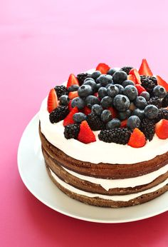 AMAZING 1-Bowl Chocolate Cake with Coconut Whipped Cream with Berries! The perfect summer birthday cake | #vegan #glutenfree #cake #glutenfree #chocolate #dessert