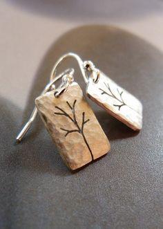 Trees Sterling silver earrings dangle earrings natural # Fashionable # Earrings