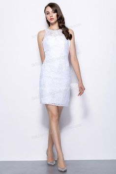 Show off your slim figure with this floral adorned lace cocktail length white bridesmaid dress, inside is the satin close fitting, lace overlay from front to back creating an illusion neck with back hole.