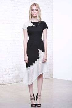 Jonathan Simkhai Pre-Fall 2016 - Look 7 - black and white dress with asymmetrical sheer hem and pixelated graphic fade effect