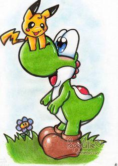 Yoshi meets Pikachu by PaperLillie on DeviantArt Yoshi, Pokemon, Pikachu, Super Mario Art, Gaming Merch, Super Smash Bros, Mario Bros, Amazing Art, Geek Stuff