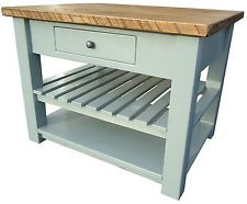 Details About Painted Kitchen Island Butchers Block Solid Pine Rustic Wooden Freestanding