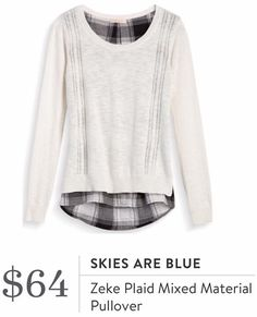 Skies Are Blue Zeke Plaid Mixed Material Pullover