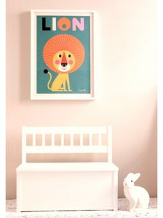 Wooden Storage Bench, Bimbily, Lion Art Print, Ingela P Arrhenius
