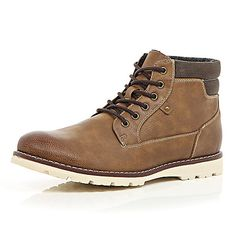 2f5bb96ca5 Brown lace-up hiker boots - boots - shoes   boots - men Men s Boots