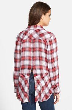 Sam Edelman Zip Back Plaid Shirt (Nordstrom Exclusive) | Nordstrom