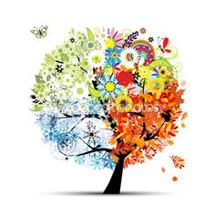 Four seasons - spring, summer, autumn, winter. Art tree beautiful for your — Stock Illustration #6524956