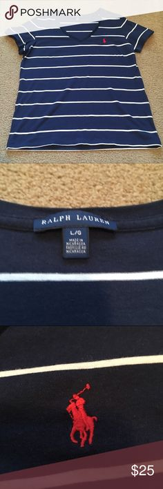 NWOT navy blue & white stripped Ralph Lauren polo Beautiful Navy blue and white stripped Ralph Lauren polo. NWOT. I washed this shirt and never wore it so it is still in perfect condition! Pair it with your favorite shorts or with jeans. (Shorts pictures are not included but available in another listing) Ralph Lauren Tops Tees - Short Sleeve