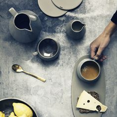 Grey-on-grey stoneware vignette from ferm LIVING