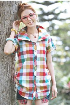 Korean version  Summer  Leisure code  Short-sleeved cotton  Lady Plaid Shirt  2816TOPS SALE FREE SHIPPING $21.00