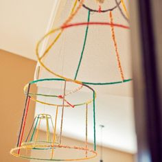 Fabric covered wire lamp shades Might be good with other covering or mobile base.
