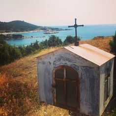 Old Greek Orthodox Roadside Shrine near Sarti, Greece Old Greek, Chapelle, Altars, Greece Travel, Cemetery, Places To See, Niches, Graveyards, Round Top