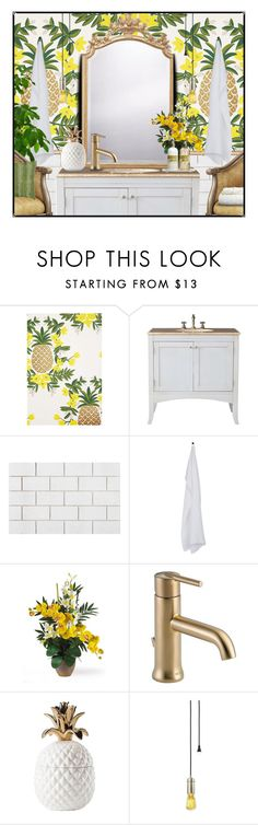 """""""The Pineapple Powder Room"""" by queenrachietemplateaddict ❤ liked on Polyvore featuring interior, interiors, interior design, home, home decor, interior decorating, Rifle Paper Co, Universal Lighting and Decor, CB2 and By Nord"""