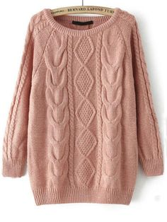 Pink Long Sleeve Cable Knit Loose Sweater — 0.00 € --------------color: Pink size: one-size