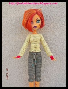 Handmade clothes for Monster High dolls: jersey + trousers (doll not included)