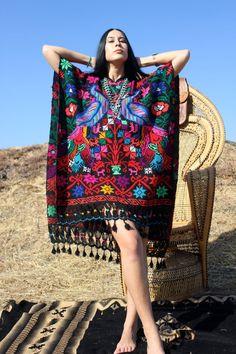 Casa Azul mexicain main brodé Poncho de laine vers les par Vdingy
