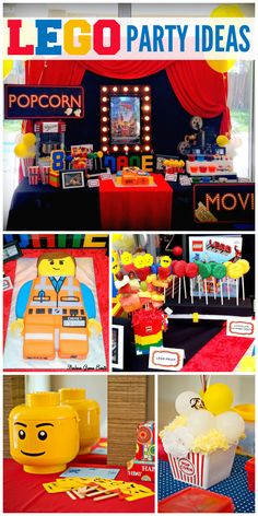 This Lego boy birthday party has a Lego man cake, popcorn bar and lots of great Lego ideas!  See more party ideas at CatchMyParty.com!