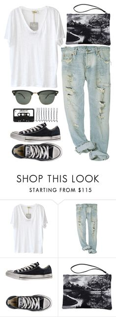 """Minimalist."" by helenwearsprada ❤ liked on Polyvore featuring American Vintage, Converse, Mary Katrantzou, BOBBY and Ray-Ban"