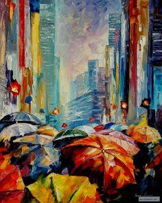 UMBRELLAS  — PALETTE KNIFE Oil Painting On Canvas By Leonid Afremov studio