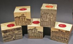 Tea candle holders with pictures of Goczałkowice Zdrój,  Poland. Made of pallet wood cubes.