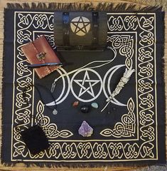 INDIGO AUTUMN COLLECTION: Witches Shadow Box & Altar Set #1 - In the shadows we keep secrets. I created the Witches Shadow Box as a sanctuary for your spells and charms. I hand painted the modest hatched wooden arched box with leather strap accents. Featuring a protective gold pentacle upon