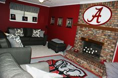 Lose the rug and find something different to put over the mantle and this would be a great football room.