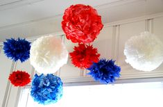 dyed coffee filter craft tissue paper pom poms pomanders 4th of July wedding shower party decoration