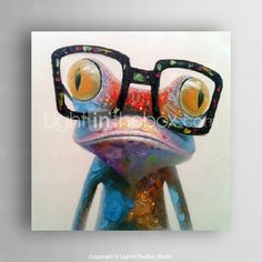 olieverf moderne abstracte kikker hand beschilderd doek met strecthed kader - EUR € 62.99