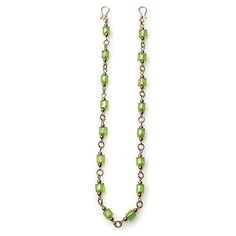 TRANQUILITY Item #: USML100093 Peaceful Moments Expressions strand featuring square lime-green lamp work glass beads sandwiched between dainty gold accents. Measures 16.5 inches. Your Price:$32.00