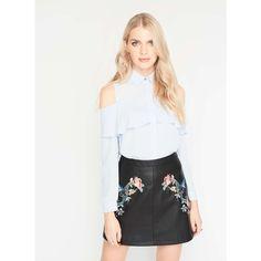 Miss Selfridge Black PU Embroidered Mini Skirt ($61) ❤ liked on Polyvore featuring skirts, mini skirts, black, pu skirt, miss selfridge, short mini skirts, mini skirt and miss selfridge skirts